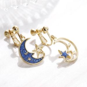 安睡月亮星星夾式耳環   【預購 Pre-Order】
