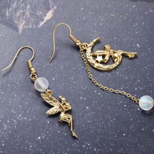 月光石小天使不對稱耳環 Moon Stone Angel Earrings | 【預購 Pre-Order】