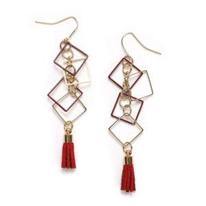 流蘇方框垂吊耳環 | Tassel & Square Boxes Hanging Earrings【預購Pre-Order】