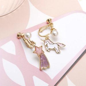 可愛獨角獸流星夾式耳環 Unicorn Clip-on Earrings   【預購 Pre-Order】